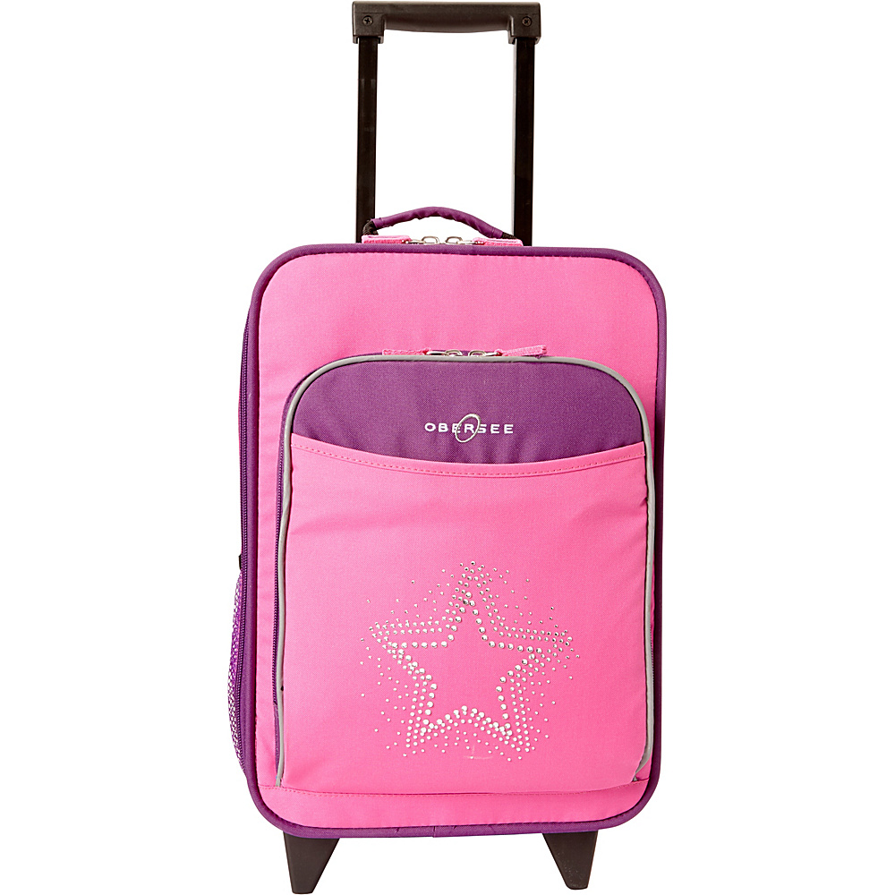 Obersee Kids Star 16 Upright Carry-On Purple Pink Bling Rhinestone Star - Obersee Softside Carry-On - Luggage, Softside Carry-On