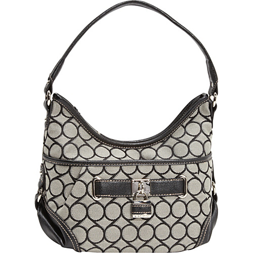 Nine West Handbags 9 Jacquard Small Hobo Black-Ivory/Black - Nine West Handbags Fabric Handbags