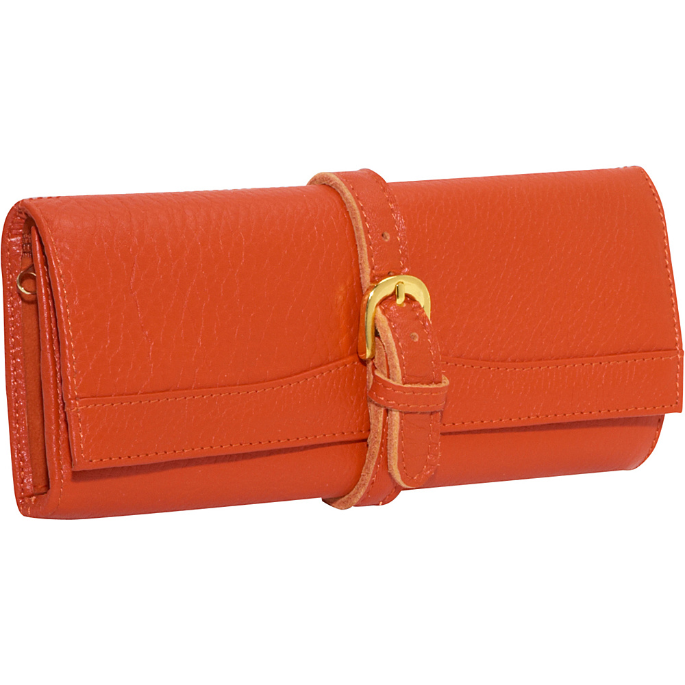 AmeriLeather Leather Jewelry Roll - Orange - Travel Accessories, Travel Organizers