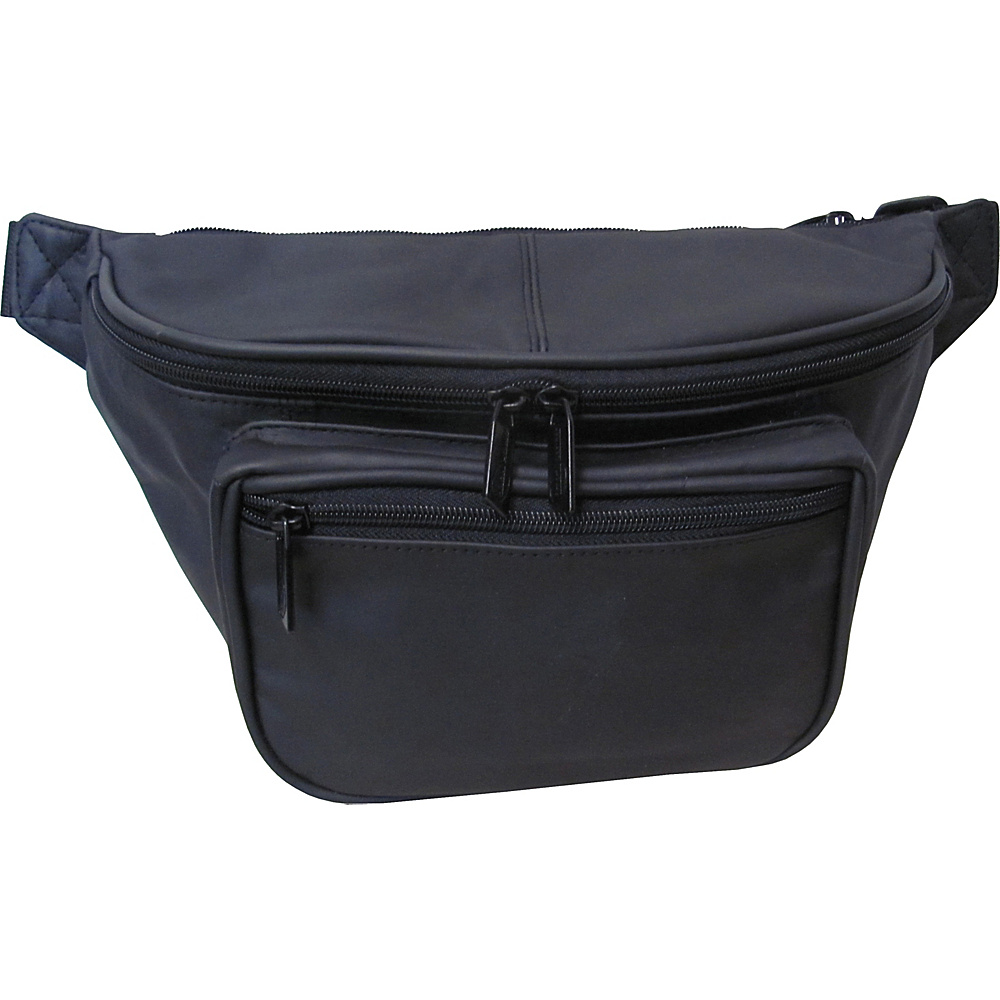 AmeriLeather Jumbo Size Leather Fanny Pack - Black - Backpacks, Waist Packs