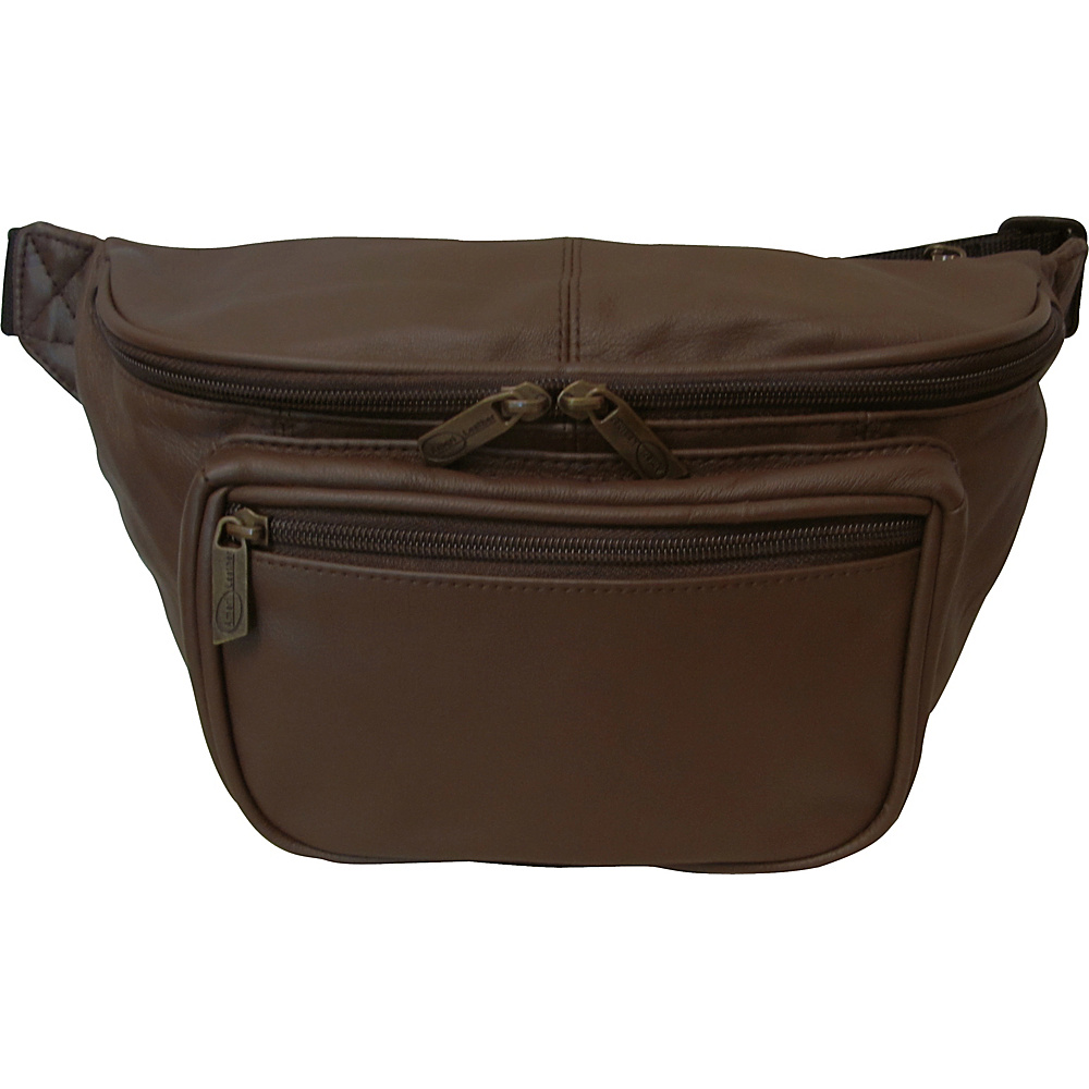 AmeriLeather Jumbo Size Leather Fanny Pack Waxy Brown - AmeriLeather Waist Packs - Backpacks, Waist Packs