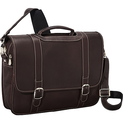 David King & Co. Deluxe Porthole Briefcase with Organizer Cafe - David King & Co. Non-Wheeled Business Cases