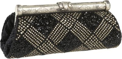 Moyna Handbags Beaded Evening Bag Black/Silver - Moyna Handbags Evening Bags