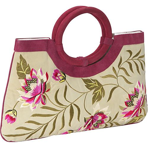 Moyna Handbags Embroidered Suede Bag Ivory