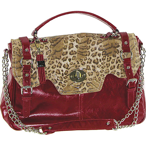 Buxton Front Flap Leather Satchel With Animal Print Trim Red - Buxton Leather Handbags