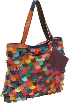 AmeriLeather Multi-Colored Kaleidoscope Tote Rainbow - AmeriLeather Leather Handbags