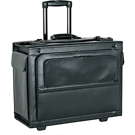 18'' Leather Rolling Laptop Catalog Case Black