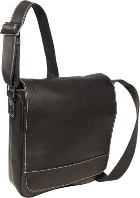 David King & Co. Deluxe Medium Flap Over Messenger Black - David King & Co. Other Men's Bags