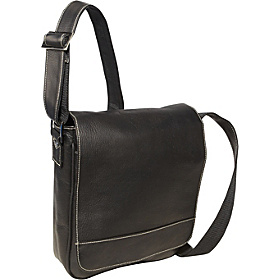 Deluxe Medium Flap Over Messenger Black