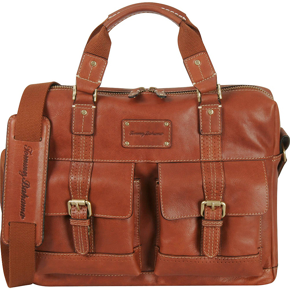 Tommy Bahama Back 9 Zip Briefcase Cognac Tommy Bahama Non Wheeled Business Cases