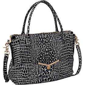 Valentina Satchel Black/White Croc