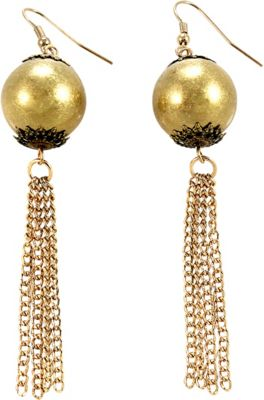 Image of Alexa Starr Burnished Gold Bauble Earrings With Filigree Detail And Gold Chain Tassel Bottoms Gold - Alexa Starr Jewelry