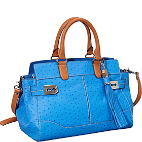 Roopal Ostrich Medium Satchel Blue