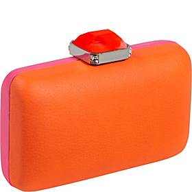 Two-Sided Frame Minaudiere Silver-Fuschia/Orange