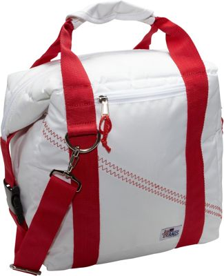 SailorBags Sailcloth 12-Pack Soft Cooler Bag White with Red Straps - SailorBags Travel Coolers
