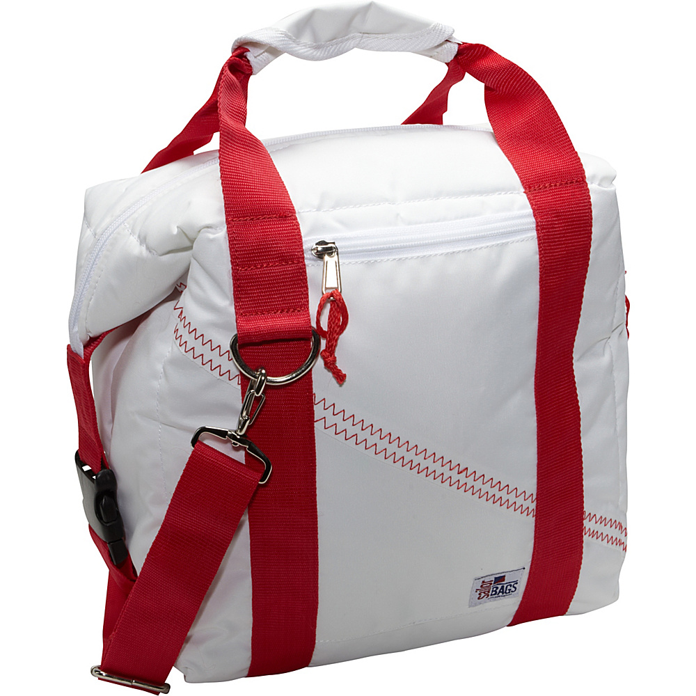 SailorBags Sailcloth 12 Pack Soft Cooler Bag White with Red Straps SailorBags Travel Coolers