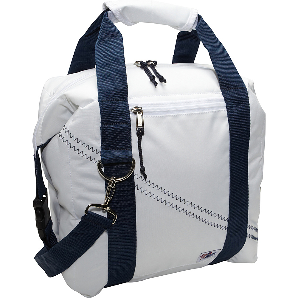 SailorBags Sailcloth 12 Pack Soft Cooler Bag White with Blue Straps SailorBags Travel Coolers