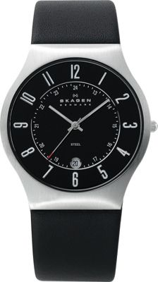 Skagen Black Leather and Steel Watch Black/Silver - Skagen Watches