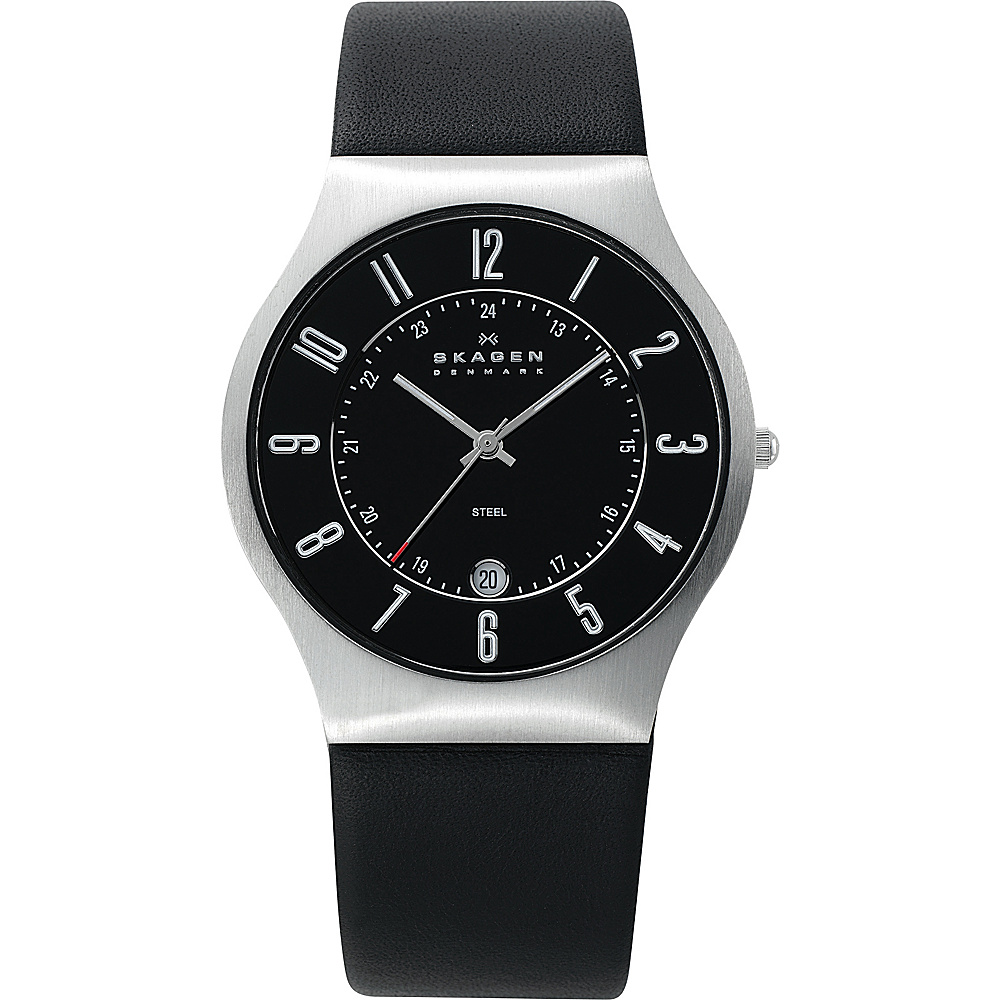 Skagen Black Leather and Steel Watch Black Silver Skagen Watches
