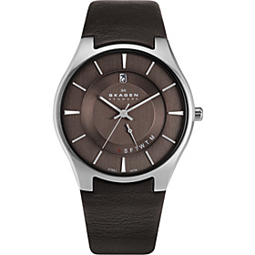 Brown Leather Band Watch Brown with Silver