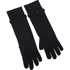 Tuck Stitch Long Glove Black