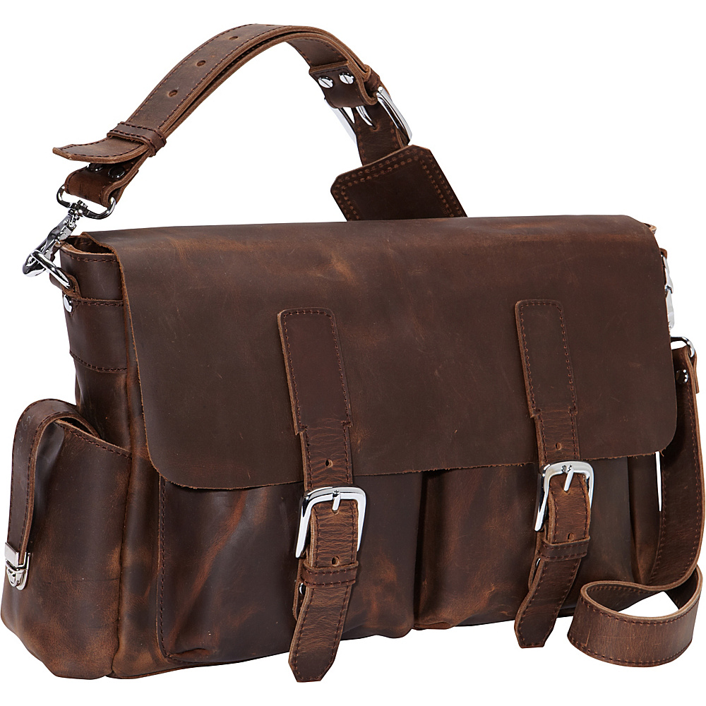 Vagabond Traveler 15.5 Casual Style Leather Messenger Bag Vintage Distress - Vagabond Traveler Messenger Bags - Work Bags & Briefcases, Messenger Bags