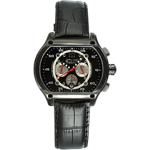 Equipe Dash Mens Watch Black dial; Leather Black Band; Black Bezel - Equipe Watches