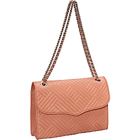 Line Quilt Large Affair Shoulder Bag Coral