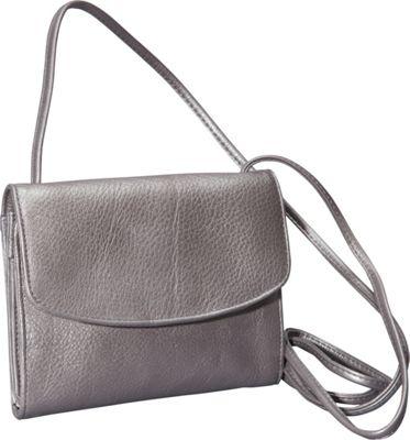 Derek Alexander Small Half Flap Organizer Silver - Derek Alexander Leather Handbags