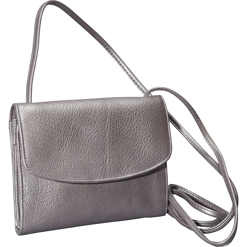 Derek Alexander Small Half Flap Organizer Silver - Derek Alexander Leather Handbags - Handbags, Leather Handbags