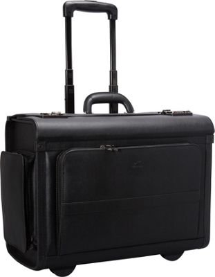 Mancini Leather Goods Mancini Leather Goods Wheeled Catalog Case Black - Mancini Leather Goods Wheeled Business Cases