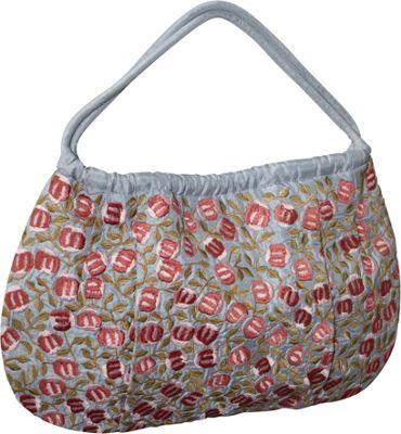 Moyna Handbags Shoulder Bag - Medium Silk Mini Roses Blue - Moyna Handbags Fabric Handbags