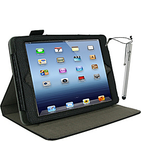 Dual-View Leather Case w/ Stylus for iPad Mini Black