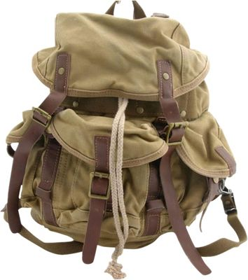 Vagabond Traveler Medium Cotton Canvas Backpack Khaki - Vagabond Traveler Everyday Backpacks
