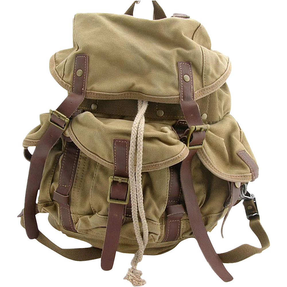 Vagabond Traveler Medium Cotton Canvas Backpack Khaki - Vagabond Traveler Everyday Backpacks - Backpacks, Everyday Backpacks