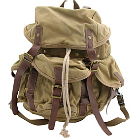 Medium Cotton Canvas Backpack Khaki