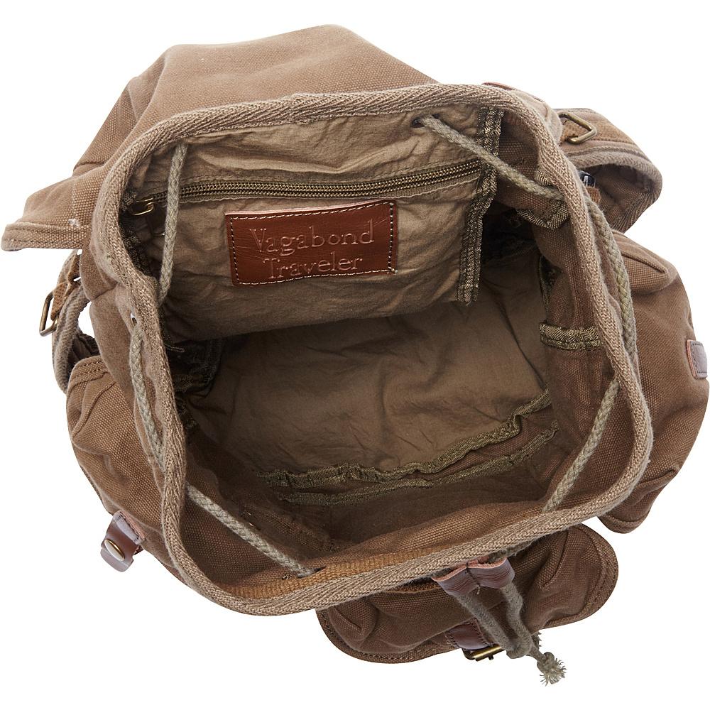 Vagabond Traveler Medium Cotton Canvas Backpack Military Green - Vagabond Traveler Everyday Backpacks