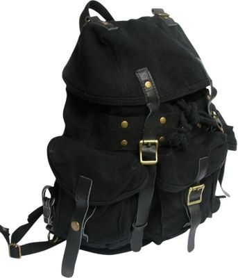 Vagabond Traveler Medium Cotton Canvas Backpack Black - Vagabond Traveler Everyday Backpacks
