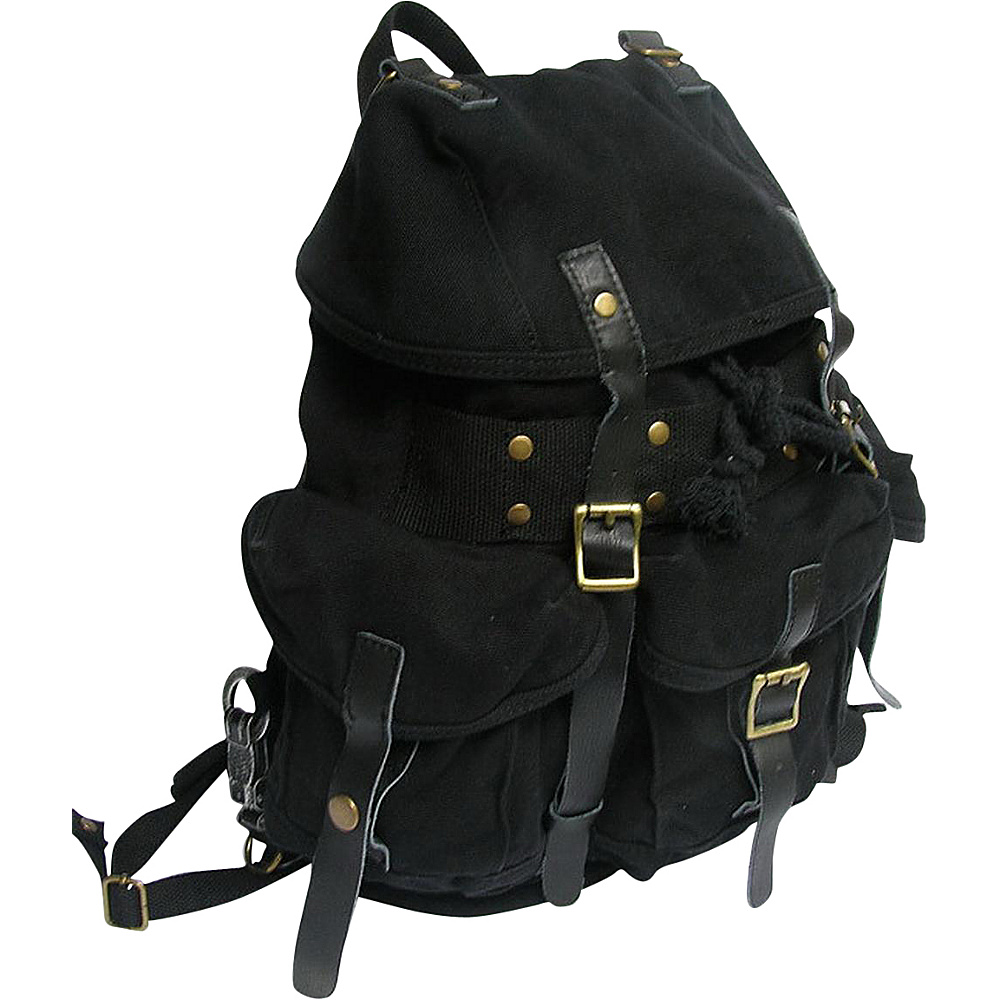 Vagabond Traveler Medium Cotton Canvas Backpack Black - Vagabond Traveler Everyday Backpacks - Backpacks, Everyday Backpacks