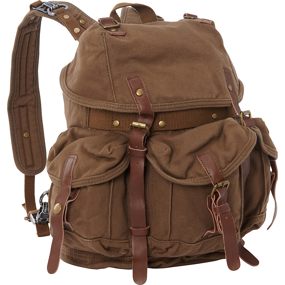 Vagabond Traveler Medium Cotton Canvas Backpack Military Green Vagabond Traveler Everyday Backpacks