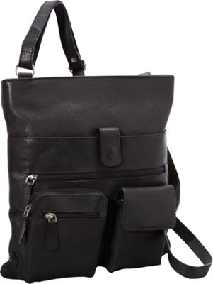 R & R Collections 4 Pocket Leather Crossbody Black - R & R Collections Leather Handbags