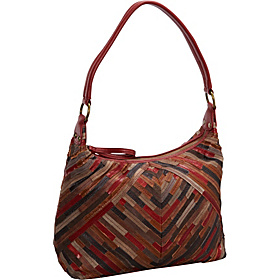 Patchwork Top Zip Leather Hobo MULTI