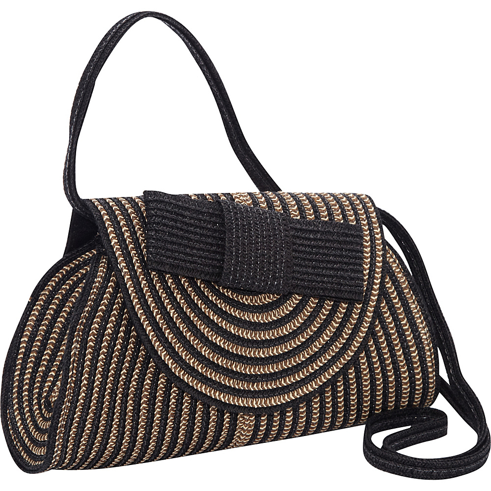 b3659a63d1  29.74 More Details · Magid Two Tone Stripe Paper Bow Clutch Crossbody  Black Multi - Magid Straw Handbags