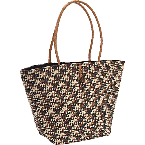Magid Paper Straw Braided Tote Black/Combo - Magid Straw Handbags