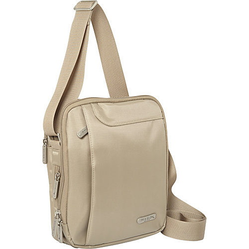Travelon 3 Compartment Expandable Shoulder Bag Sand - Travelon Fabric Handbags