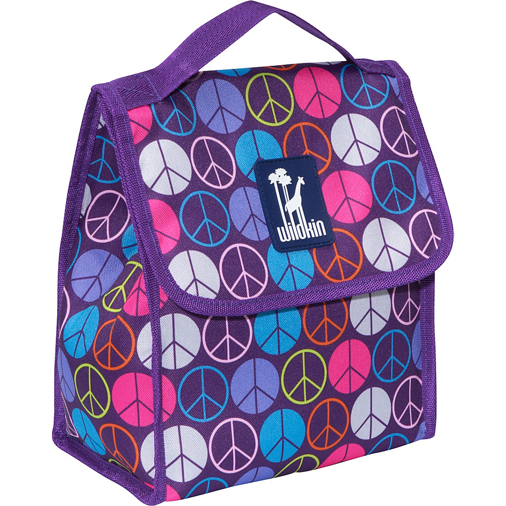Wildkin Olive Kids Lunch Bag Peace Signs Purple - Wildkin Travel Coolers - Travel Accessories, Travel Coolers