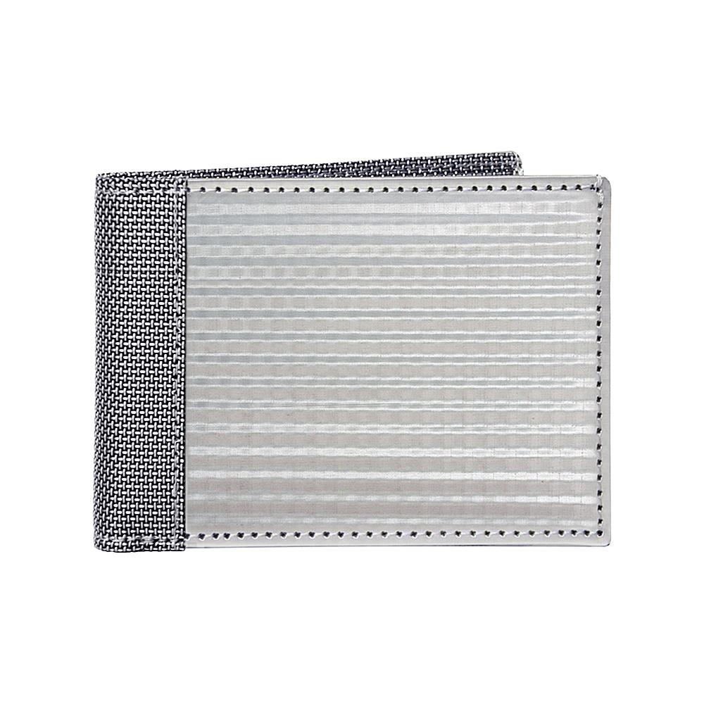 Stewart Stand Checkered Texture Slim Bill Fold Stainless Steel Wallet RFID Silver Grey Mesh Stewart Stand Men s Wallets