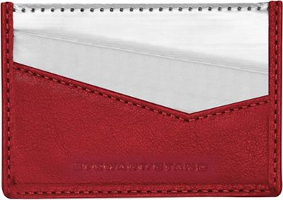 Stewart Stand Color Block Collection Card Stainless Steel Wallet  - RFID Red Leather - Stewart Stand Women's Wallets