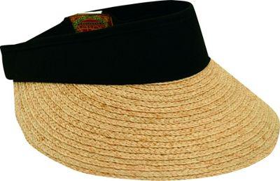 Scala Hats Raffia Visor Dyed Cotton Crown One Size - Black - Scala Hats Hats/Gloves/Scarves