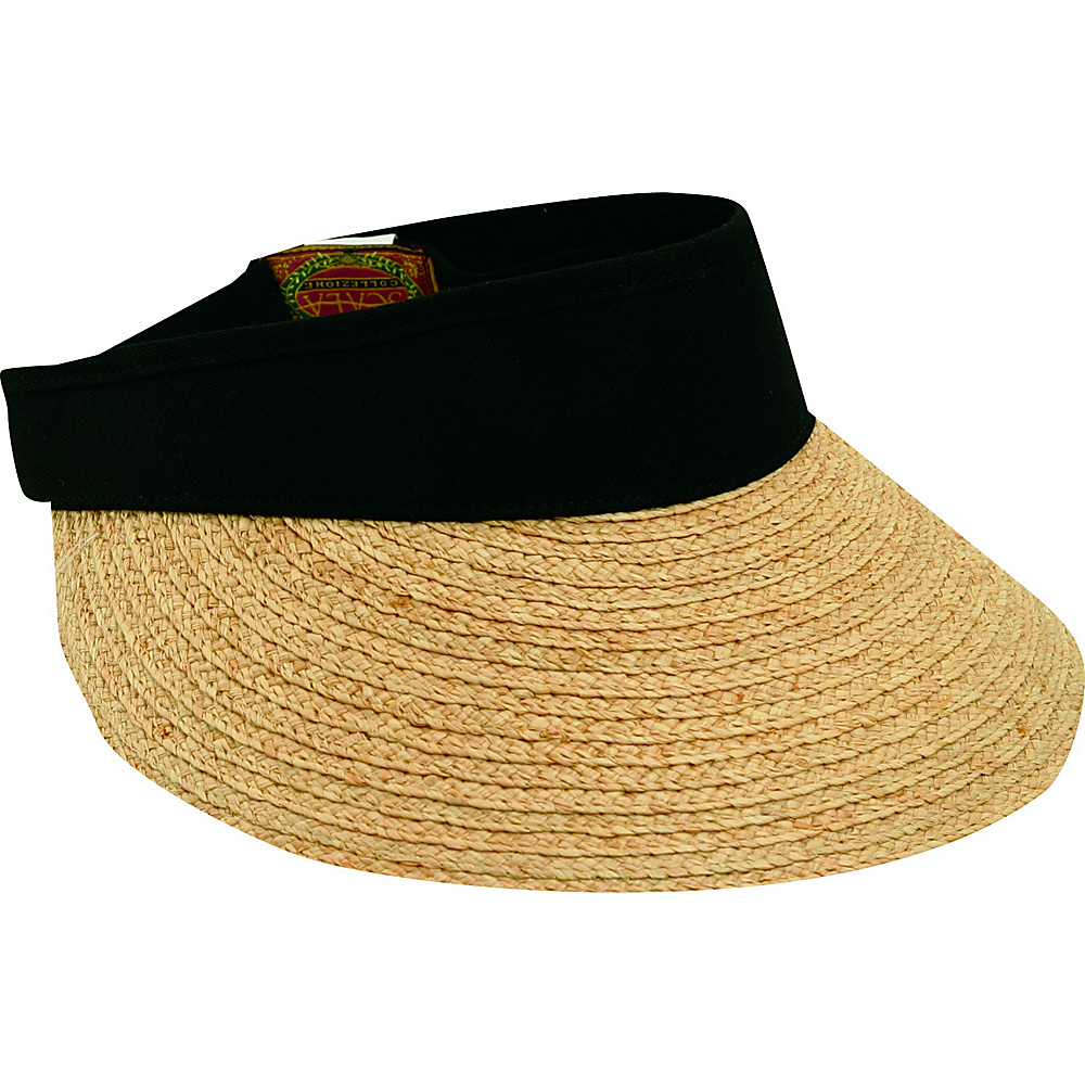 Scala Hats Raffia Visor Dyed Cotton Crown BLACK - Scala Hats Hats